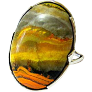 Oval Cabochon Landscape Picture Agate Sterling Silver Ring