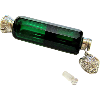 Antique Victorian Sterling Silver Emerald Green Double Sided Scent Perfume Vial with Dauber