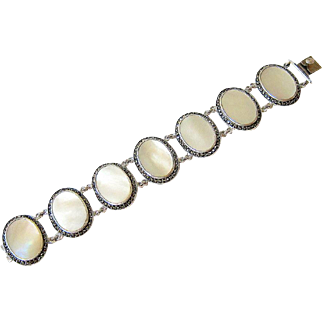Art Deco Mother of Pearl Marcasite Sterling Silver Bracelet Signed and Hallmarked