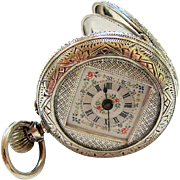 Antique Victorian Sterling Silver Enameled Lady's Chatelaine Pocket Watch