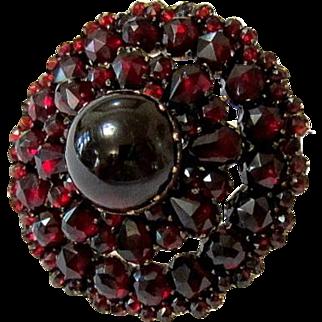 Antique Edwardian Bohemian Garnet Silver Vermeil Brooch