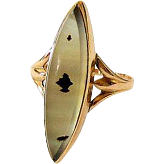 Antique 10KT Rose Gold Marquis Dendrite Agate Ring