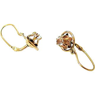 Early Victorian 14KT Gold Diamond Paste Back to Front Dormeuse Earrings