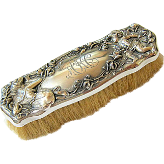 Art Nouveau Sterling Silver Repousse Clothing or Hat Brush Hallmarked