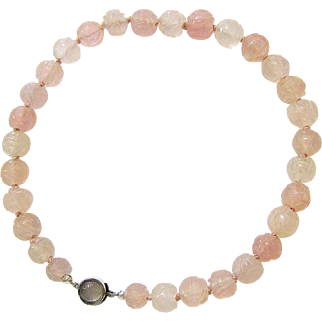 Hand Carved Rose White Quartz Necklace with Matching Sterling Silver Quartz Clasp
