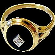 Art Deco 10KT Yellow Gold Onyx Diamond Signet Ring