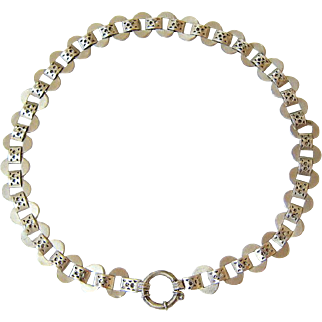 Victorian Sterling Silver Book Chain Necklace Collar