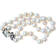14 Kt White Gold Diamond Double Strand Pearl Bracelet