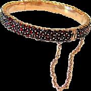 Antique Victorian Bohemian Garnet Bangle Bracelet