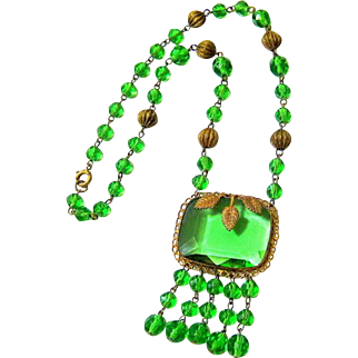 Art Deco Czech Emerald Green Crystal and Gold Gilt over Brass Lavalier Necklace Signed