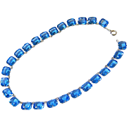 Victorian Emerald Cut Cornflower Blue Sapphire Paste Sterling Silver Riviere Necklace