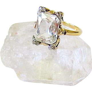 Art Deco 14 kt Rock Quartz Crystal Ring Signed and Hallmarked
