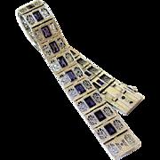 Art Deco Sterling Filigree Amethyst Paste Bracelet by R.F. Simmons
