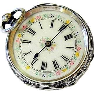 Antique Early Victorian Sterling Silver Enameled Lady's Chatelaine Pocket Watch