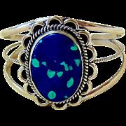 Vintage Southwest Sterling Silver Azurite Cuff Bracelet