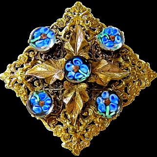 Rare Antique Venetian Murano Cabochon Glass Large Diamond Shape Brooch