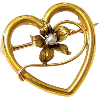 Edwardian 10KT Rosy Gold Seed Pearl Heart Brooch Pin