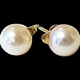 14KT Yellow Gold 9 mm Akoya Pearl Stud Earrings