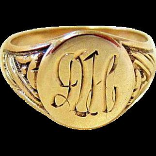 Art Deco 10KT Yellow Gold Signet Ring