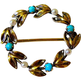 Victorian 14KT Rose Gold Turquoise Seed Pearl Remembrance Laurel Wreath Brooch