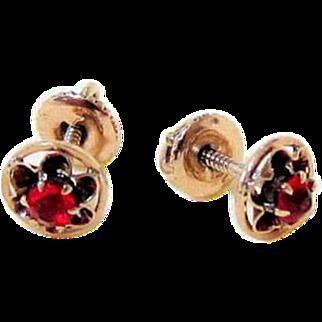 Antique Mine Cut Ruby Paste 10KT Rose Gold Screw Post Stud Earrings