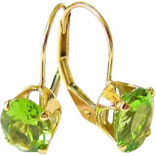 14 kt Yellow Gold Oval Peridot Lever Back Earrings
