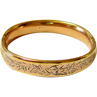 Antique Victorian Rosy Rolled Gold Chased Repousse Bangle Bracelet Signed