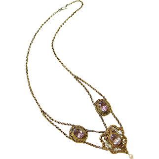 Victorian Gilt Sterling Amethyst Paste Pearl Festoon Necklace