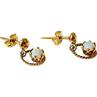 16 kt Rosy Gold Fiery Cabochon Opal Drop Earrings