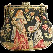 Aubusson Tapestry Medieval Figural Scenic Purse Handbag Bag