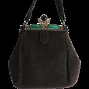 Black Velvet Marcasite Green Stone Art Deco Bag Purse Handbag