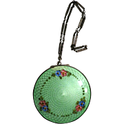 Vintage Guilloche Compact Purse Green Enamelling Sterling & 11K Gold