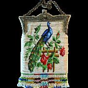 Scenic Purse Peacock on Rose Covered Garden Trellis Vintage Bag Handbag