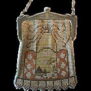 Vintage Purse Scenic Mesh Whiting Davis Bag Handbag Palm Trees Pyramids