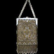 Vintage Purse French Steel Beaded Purse Bag Handbag Outstanding Fringe