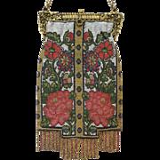 Beaded Purse Vintage Handbag Bag Steel Beads Stunning Floral Display of Reds, Greens, Gold