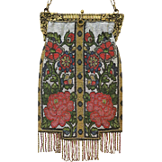 Beaded Purse Vintage Handbag Bag Steel Beads Stunning Floral Display of Reds, Greens, Gold