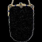 Vintage Beaded Purse Jewelled Encrusted Frame Black Bag Handbag