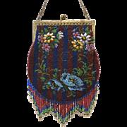 Vintage Beaded Purse Lovely Fringe Bag Handbag