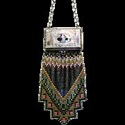Fabulous Vintage Whiting Davis Mesh Purse Compact Bright Bag Handbag