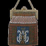 Antique Vintage Micro Beaded Steel / Brass Beads Bag Handbag Geometric