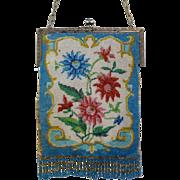 Gorgeous Vintage Micro Beaded Purse Floral Bag Handbag