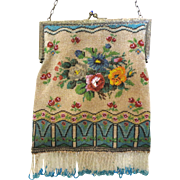 Gorgeous Vintage Beaded Purse Floral & Geometric