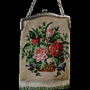 Vintage Micro Beaded Purse Basket of Flowers Bag Handbag