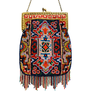 Vintage Beaded Purse Geometric Bright Colourful with Fabulous Fringe
