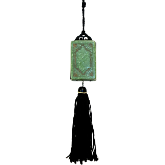 Vintage Celluloid Compact Purse Necessaire ca. 1920s Green Minaudier Dance Purse