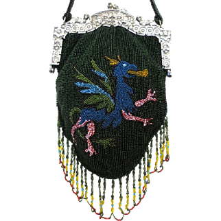 Vintage Beaded Purse / Matching Frame Phoenix Figural Scenic Bag Handbag