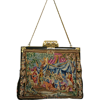 Vintage Petit Point Scenic Figural Purse Bag Handbag