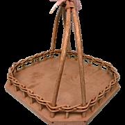 Vintage 1930's Wicker Tray Held Baby Items Original Paint