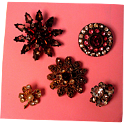 Vintage Buttons With Rhinestones - Unusual
